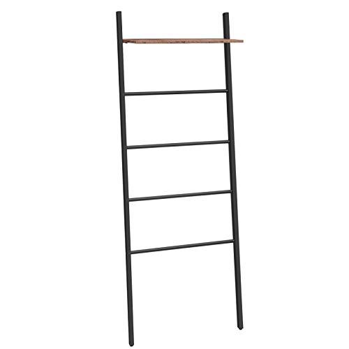 HOOBRO Blanket Ladder, 5-Tier Leaning Ladder Towel Rack with Storage Shelf, 25.2 Inch Wide Towel Drying and Display Rack for Bathroom, Bedroom, Laundry Room, Metal Frame, Rustic Brown BF73CJ01