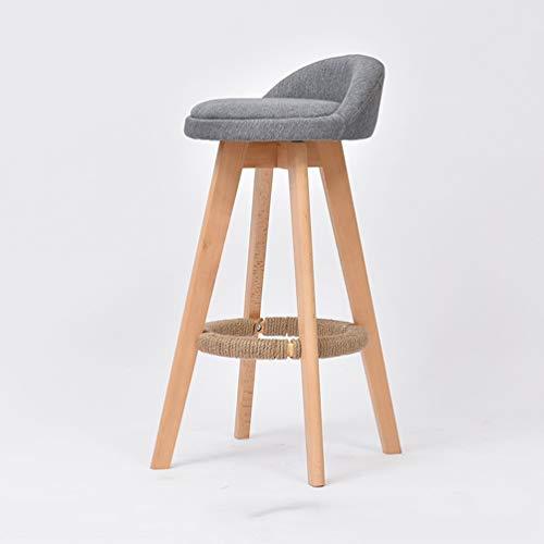 Asiento de cocina de madera adecuado para mesas de desayuno, 53 cm de alto, sillas de comedor de desayuno, taburetes de bar, taburetes de bar, cocina, pub, bar Height 63cm gris