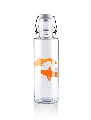 """soulbottle 0,6l • """"Kois' • Trinkflasche aus Glas • vegan, plastikfrei, klimaneutral"""