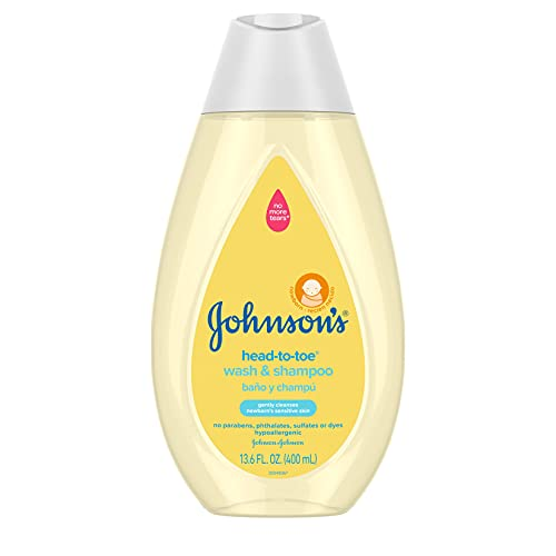 Johnson's Head-to-Toe Gentle Baby Wash & Shampoo, Tear-Free, Sulfate-Free & Hypoallergenic Bath Wash for Baby's Sensitive Skin & Hair, pH Balanced, Washes Away 99.9% of Germs 13.6 fl. oz