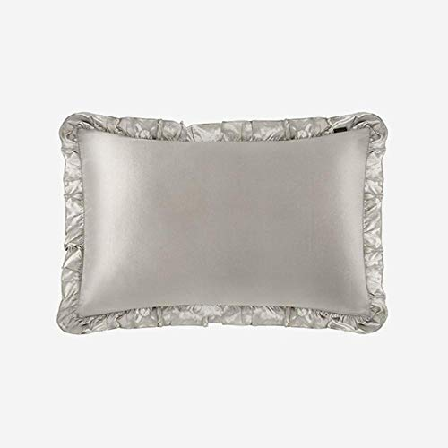 Pillowcase Pure Natural 100% 19 Momme Silk Home Pillow Case Cover For Sleeping Pillowcase With Ruffle Trim Home Textile-Silvergray_40X60Cm