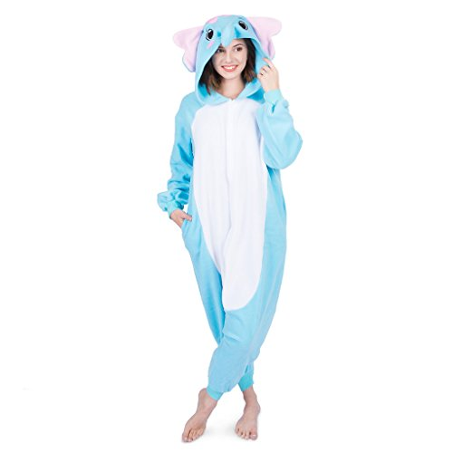 Emolly Fashion Adult Elephant Animal Onesie Costume Pajamas for Adults and Teens (Large, Blue)