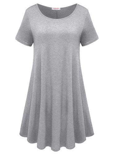BELAROI Womens Comfy Swing Tunic Short Sleeve Solid T-Shirt Dress (2X, Light Gray)