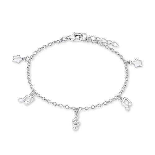 s.Oliver Kinder-Armband Girls Sterne/Musik 925 Silber rhodiniert 18 cm - 544184