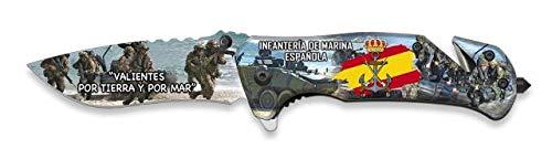 Navaja INFANTERIA DE MARINA grabado 3D con hoja de acero inoxidable de 8,1 cm y empuñadura de aluminio de 11,4 cm Caza, Pesca, Camping, Outdoor, Supervivencia y Bushcraft + portabotellas de regalo