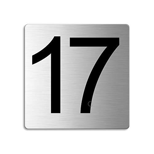 Plaque Numéro de porte 17 | 85x85 mm autocollant | acier inox brossé Nr.48317