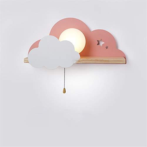 Muur Sconce Lights Moderne LED Wandlamp Nachtlampje Hout Creatieve Wolken Decor Glas Bal Gelachen Schakelaar Studie Kamer Lezen Wandlamp