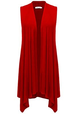 Meaneor Womens Long Vests Lightweight Open Front Draped Sleeveless Cardigan Vest (X-Large, Red) by