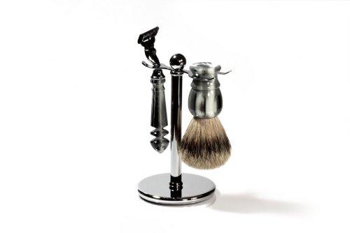 RAZZOOR Rasierset Büffelhorn Imitat für Gillette Mach3 Rasierklingen - Rasierpinsel Set Dachshaar Silberspitz für die Nassrasur - Attraktives Rasierwerkzeug für den Mann