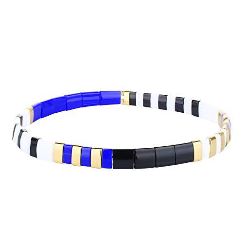KELITCH Colorful Tila Beads Bracelets Miyuki Stackable Strand Stretch Bracelets Mixed Friendship Bracelets - 9G