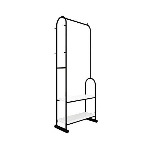KangJZ Hogar Perchas Perchas de metal, simplicidad multifunción ropa rack dormitorio for suelo de estilo nórdico barra de colgar Con Doble Capa de almacenamiento de zapatero Almacenaje de ropa