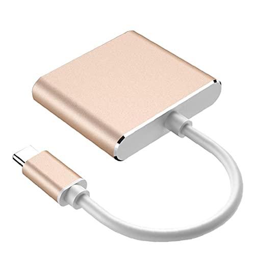 ODOUKEYConcentrador de Tipo C a HD Convertidor de la C-3en1 Cable Adaptador multipuerto Digital Hub de Carga de Oro