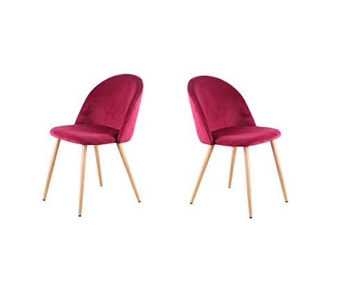 N/A Juego de dos sillas de comedor con pies de terciopelo suave y patas de madera, muy adecuadas para cocina, salón, dormitorio bar (rojo)