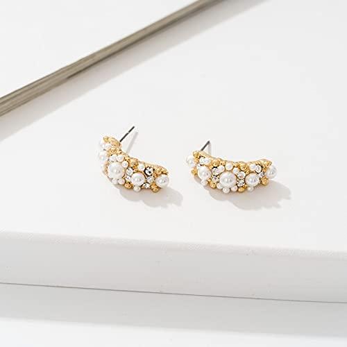 DFDLNL Pendientes de Vacaciones rectangulares curvos, Perlas Blancas, Diamantes de imitación Transparentes, Color Dorado, Regalo para Mujeres y niñas