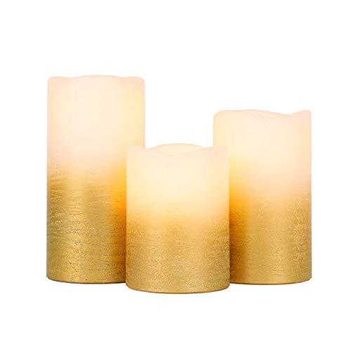 JHY DESIGN Juego de 3 Velas led Llama LED Parpadeante con Temporizador de 6 horas Cera Real de Oro a Pilas Velas sin llama con Borde Ondulado Velas Eléctricas Intermitentes(Decoración de Pan de Oro)