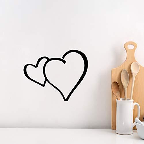 Adhesivo decorativo para pared, diseño romántico, 2 corazones