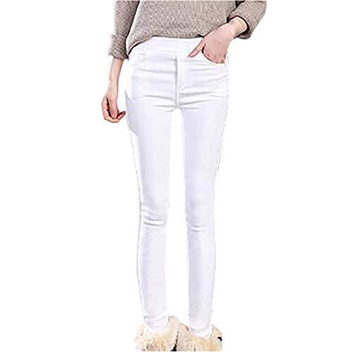 Lenfesh Mujer Invierno Cintura Alta Invierno Felpa Leggings Lápiz Pantalones Térmicos