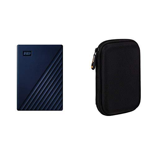 WD My Passport Disco Duro portátil para Mac de 2TB - Preparado para Time Machine y con protección Mediante contraseña + Amazon Basics - Funda de Disco Duro, Color Negro y Naranja