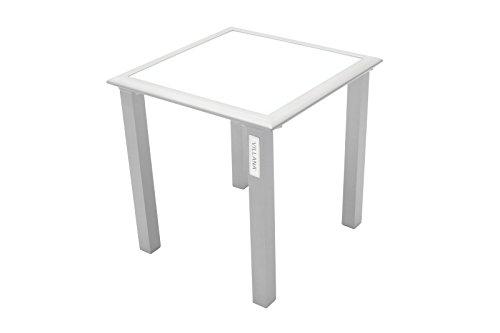 VILLANA stilvoller Beistelltisch aus hochwertigem Aluminium in grau, Tischplatte aus starkem Glas, ca. 45 x 45 x 45 cm, kleiner Gartentisch, Kaffeetisch, Glastisch, Teetisch, wetterfest, zeitlos