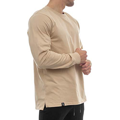 Sixlab Side Split Longsleeve Oversize Shirt Sweatshirt Shirt Fitness Gym (L, Sand)