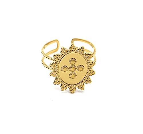 Oh My Shop BG1380 - Anillo con medalla diseño de cruz y contorno de sol, acero dorado