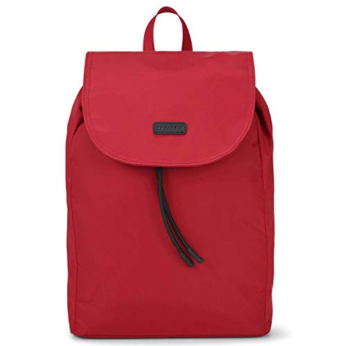 Expatrié Mochila Mujer Rojo: Bolsa Clara de Elegante Nylon   Bonito Bolso para Ocio