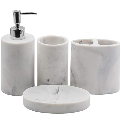 TOPSKY - Juego de 4 accesorios de baño, dispensador de jabón, soporte para cepillo de dientes, vaso, jabonera