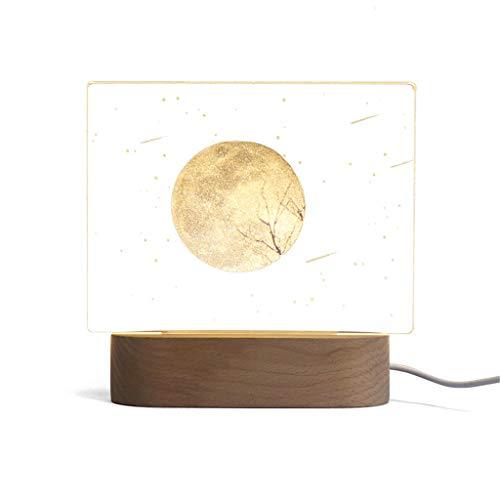 Escritorio LED USB Lámpara De Luz 3D Noche Sólida Atmósfera Decoración Luna Madera Dormitorio Regalo De Cumpleaños De Los Niños De Iluminación De Acrílico