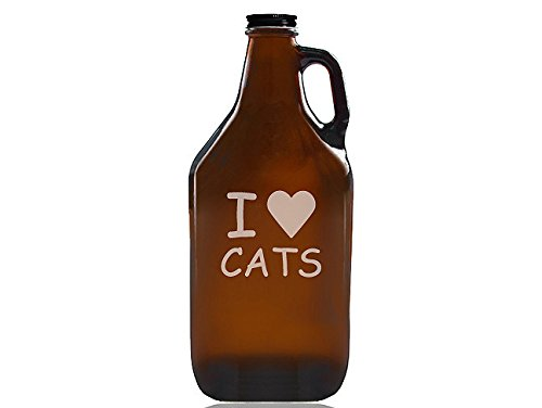 """Chloe and Madison""""I love Cats"""" Beer Amber Growler"""