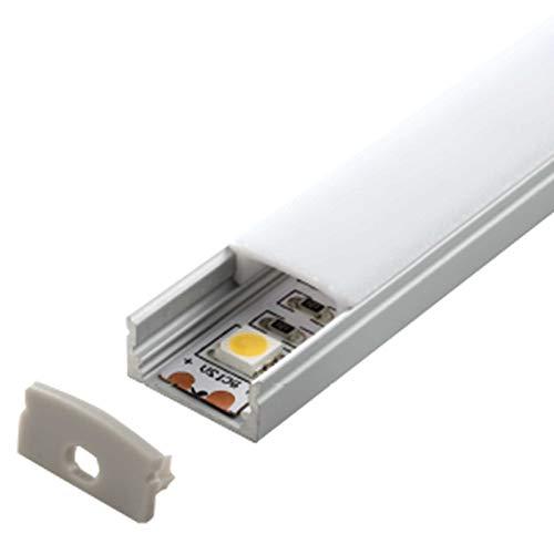 Preisvergleich Produktbild 2m Aluprofil LENO (LN) 2 Meter Aluminium Profil-Leiste eloxiert für LED Streifen - Set inkl Abdeckung-Schiene milchig-weiß (opal) mit Endkappen Abdeckung milchig click