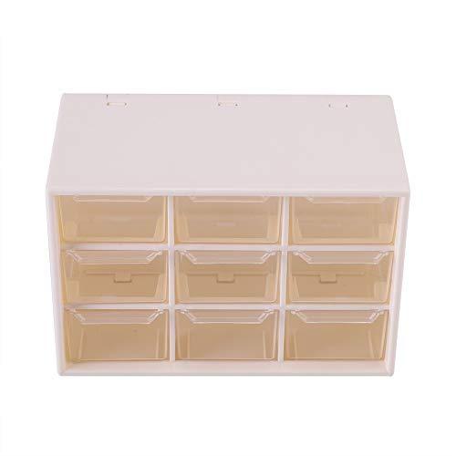Acouto Caja de Almacenamiento de Escritorio, Plástico Portátil 9 Mini Gabinetes de Celosía Cajón Joyas Caja de Almacenamiento de Cosméticos Puede Almacenar Joyas Cosméticos(Blanco)