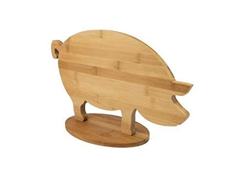 Fisura | Tabla de Cortar de Madera de Bambú para la Cocina con Formas de Animales. Tamaño Grande. (Cerdo)