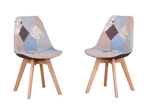 Sedia da pranzo ergonomica semplice cotone lino patchwork legno massello spugna cuscino per cucina soggiorno salotto ufficio set di 2 (grigio, 2)