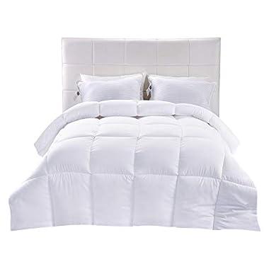 Utopia Bedding Down Alternative Comforter (White, Queen) - All Season Comforter - Plush Siliconized Fiberfill Duvet Insert - Box Stitched