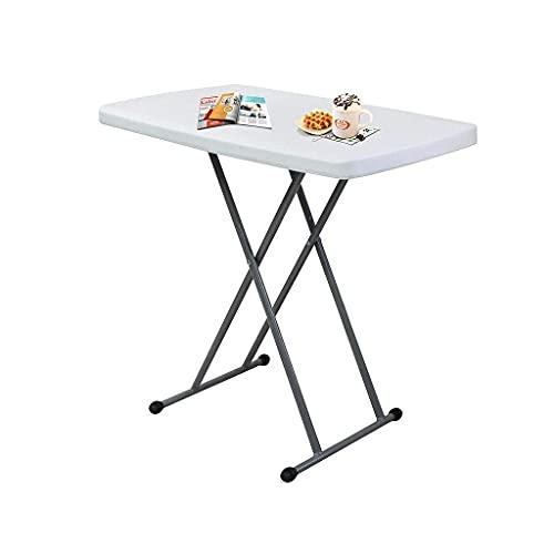 Todeco Table Compacte et Pliable, Table Pliante Ajustable, 76 x 50 x 51/63/74 cm, Blanc, Matériau: HDPE, Surface supérieure: 76 x 50 cm