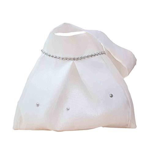 """Elegante Bolsa Limosnera Artesanal Decorativa para Novia""""Blanca con Adornos"""". Bolsos y Complementos. Regalos Originales. Detalles de Bodas, Comuniones, Bautizos. CC"""