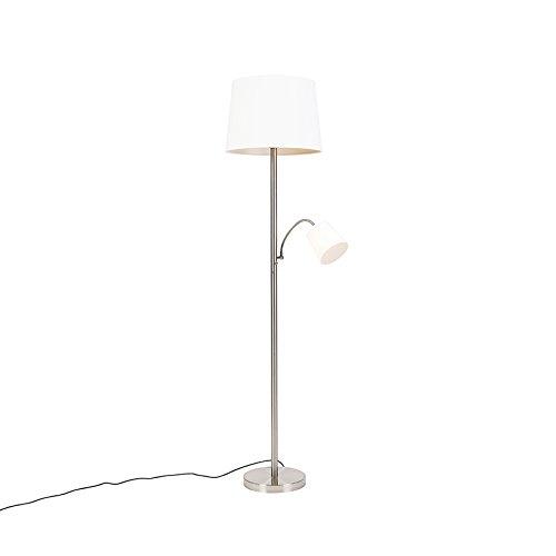 QAZQA Clásico/Antiguo Lámpara de pie clásica de acero con pantalla blanca y lámpara de lectura - Retro Textil/Acero Otros Adecuado para LED Max. 1 x 60 Watt
