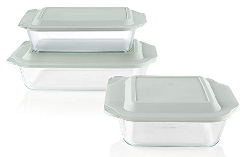 Pyrex Deep Baking Dish Set (6-Piece, BPA-Free Lids)