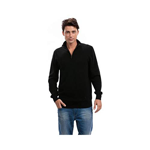 Citizen Cashmere Men Quarter Zip Pullover Sweater - 100% Cashmere (L, Black) 42 105-02-03