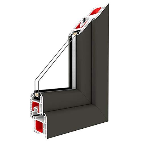 Festverglasung Fenster Quarzgrau Glatt beidseitig 1 flg. Fest im Rahmen, BxH:800x600, Glas:2-Fach
