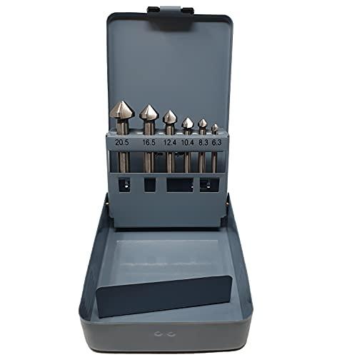 profi-tool-germany 6teiliges HSS-G Kegelsenker Set 6,3 / 8,3 / 10,4 / 12,4 / 16,5 und 20,5 mm 90° Z3 in praktischer Metallbox