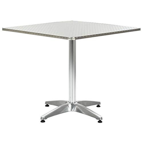 Festnight Tuintafel Tafel outdoor staande tuin vrije tijd salontafel 80x80x70 cm aluminium zilverkleurig