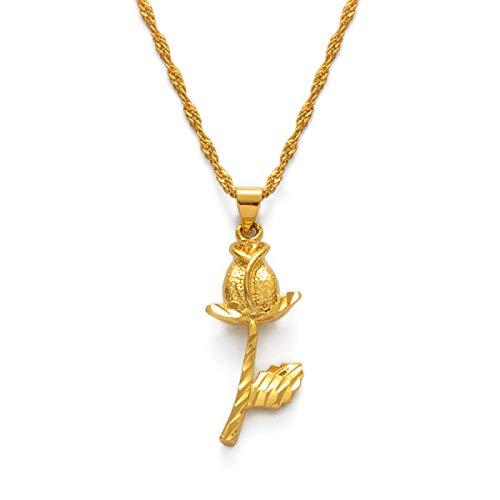 DSHT Collar de flores para mujer, oro rosa, pendientes de flores, Lady africana, collar #022806