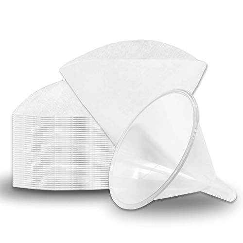 Birllaid Non Woven Filter Cones Filter Cooking Oil Clean Filtering Deep Fryer, Package of 1 Cone Holder and 50 Filter Cones