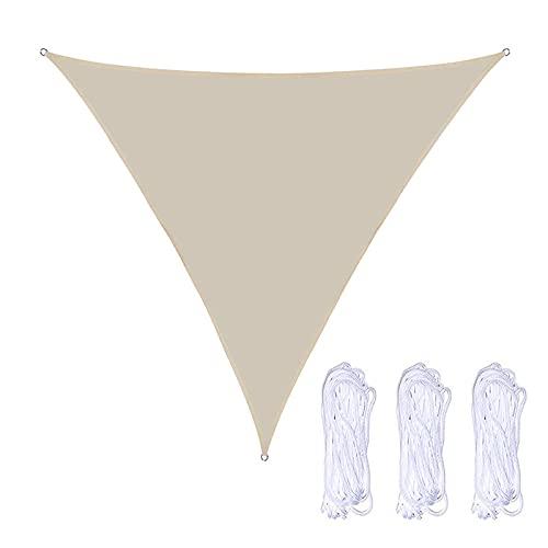 QINZC 5x5x5m Toldo Vela De Sombra Triangular Impermeable Toldo Vela Parasol Solar 90% Resistente UV Transpirable para JardíN Patio Terraza BalcóN Exteriores,Beige