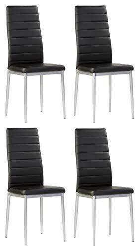 Miroytengo Conjunto 4 sillas Irina Estilo contemporaneo Negro Comedor Cocina Modernas Polipiel Salon 98x47x41