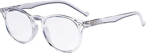 Eyekepper Oval Spring Hinges Ladies Reading Glasses +1.50 Transparent Frame Round Reader Eyeglasses for Women Reading