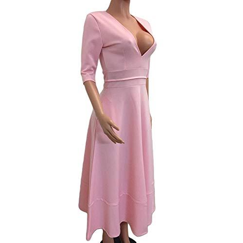 Morton PegfwaS Sommer Neues Langes Kleid Mode Einfarbiges Damenkleid Mit V-Ausschnitt