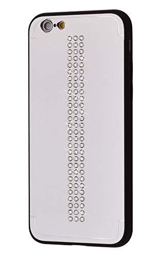 iShield Funda Lux para iPhone 6/6S Line con *81* Cristales Swarovski. Funda/caracasa híbrida de Aluminio Satinado con Marco de TPU Suave al Tacto. (Line Silver)