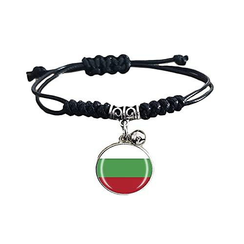 Pulsera de cuero ajustable estilo bandera de Bulgaria para viaje, recuerdo de moda